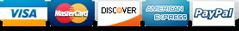 VISA, MasterCard, AMEX, Discover, Paypal